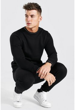Sweater Tracksuit With Rib Detail, Black