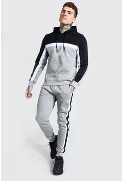 Colour Block Tape Hooded Tracksuit, Black