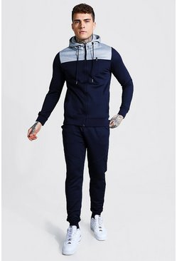 Colour Block Zip Through Hooded Tracksuit, Navy