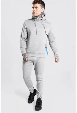 Grey marl Hooded Tracksuit With Zip Pocket Detail