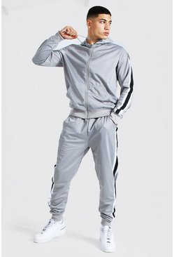 Grey Poly Zip Hooded Tracksuit With Tape