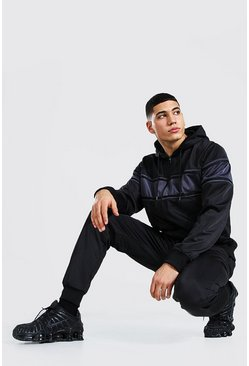 Black Poly Zip Hooded Tracksuit With Contrast Panel