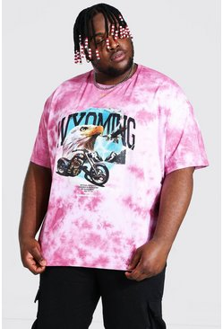 Purple Plus Size Tie Dye Graphic Print T-shirt