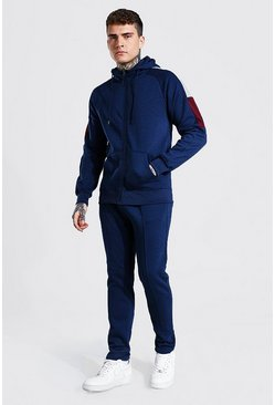 Zip Through Hooded Sleeve Panel Tracksuit, Navy