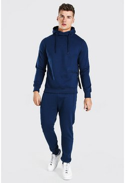 Hooded Tracksuit With Zip Pocket Detail, Navy