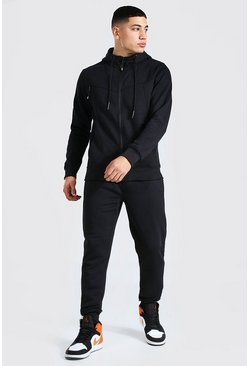 Panelled Zip Through Hooded Tracksuit, Black