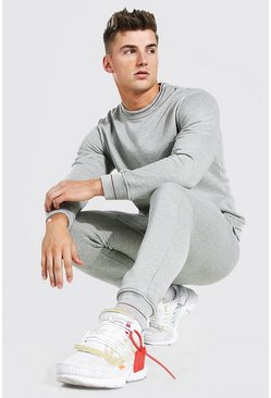 Grey marl Sweater Tracksuit With Rib Detail