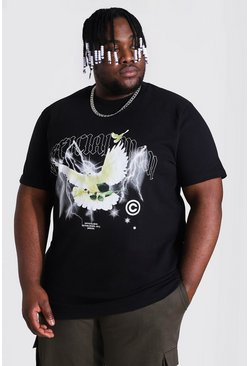 Black Plus Size Heavyweight Dove Print T-shirt