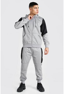 Poly Zip Hooded Tracksuit With Contrast Panel, Grey