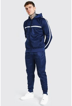 Navy Poly Zip Hooded Tracksuit Stripe Contrast