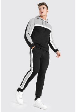 Colour Block Tape Hooded Tracksuit, Grey marl