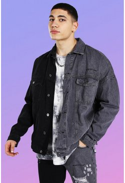 True black Oversized Man Official Splice Denim Jacket