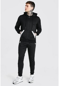 Black Reflective Detail Zip Through Hooded Tracksui
