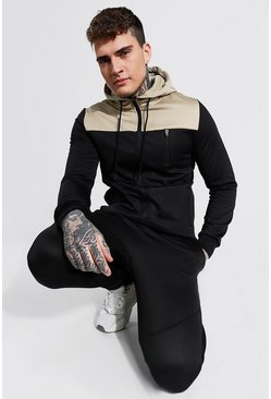 Black Colour Block Zip Through Hooded Tracksuit