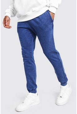 Navy Skinny Fit Acid Wash Joggers