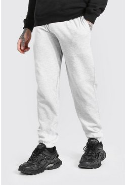 Basic Jogginghose Regular Fit, Grau meliert