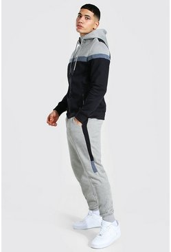 Colour Block Zip Through Hooded Tracksuit, Black