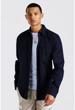 Navy Tall Utility Pocket Twill Shirt Jacket