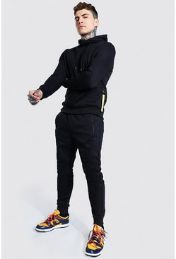Hooded Tracksuit With Zip Pocket Detail, Black