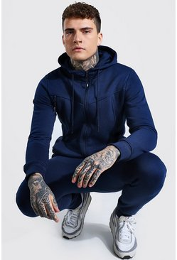 Panelled Zip Through Hooded Tracksuit, Navy
