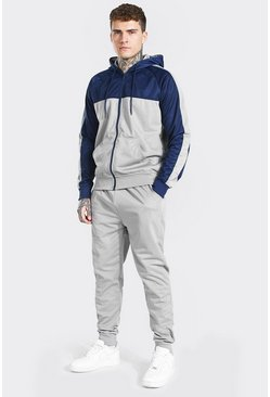 Poly Colour Block Zip Hooded Tracksuit, Grey