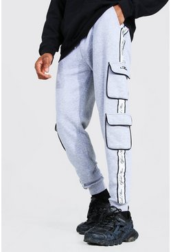 Grey marl Official Man Skinny Side Tape Cargo Joggers