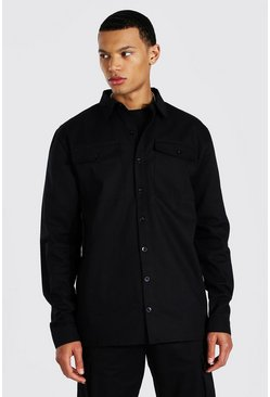 Black Tall Utility Pocket Twill Shirt Jacket