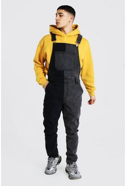 Charcoal Slim Rigid Contrast Long Dungaree