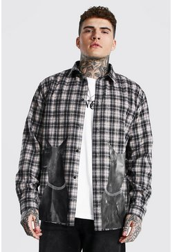 Brown Oversized Dog Print Flannel Shirt