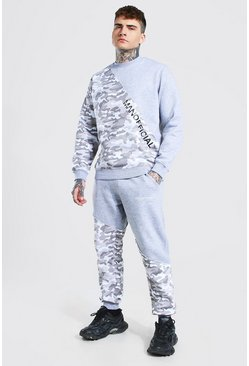 Grey Man Camo Spliced Raw Seam Sweater Tracksuit