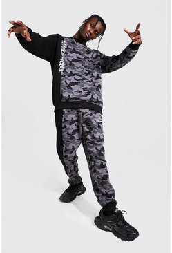 Black Man Official Colour Block Camo Sweater Tracksuit
