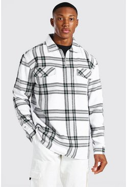 Ecru Half Zip Heavyweight Check Shirt