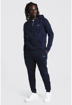 Navy Man Active Tapered 1/4 Zip Tracksuit