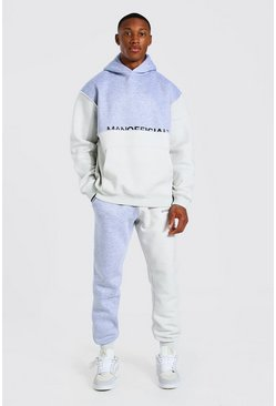 Grey marl Oversized Man Colour Block Hooded Tracksuit