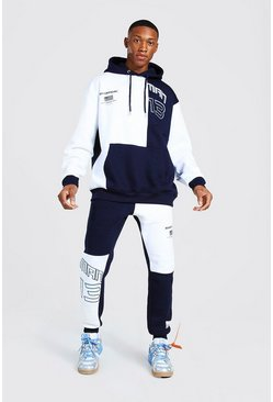 Navy Oversized Man Spliced Varsity Tracksuit
