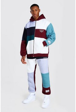 Burgundy Oversized Man Spliced Varsity Tracksuit