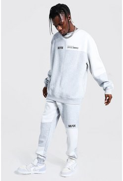 Grey marl Oversized Man Colour Block Sweater Tracksuit