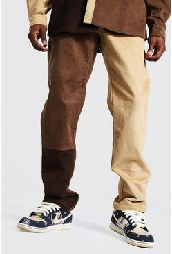 Brown Colourblock Cord Straight Leg Trouser