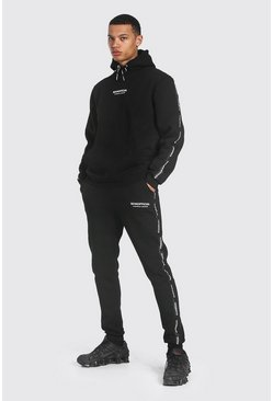 Black Tall Man Official Waistband Detail Tracksuit