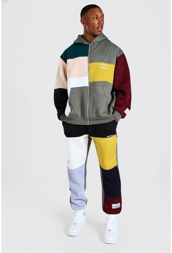 Charcoal Oversized Man Colour Block Zip Hood Tracksuit