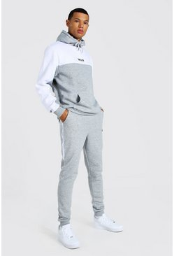 Grey marl Tall Man Colour Block Tracksuit With Tape
