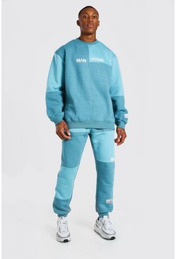 Blue Oversized Man Colour Block Sweater Tracksuit