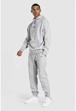 Grey marl Tall Man Signature Hooded Tracksuit