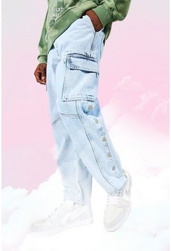 Ice blue Relaxed Fit Side Popper Cargo Jean