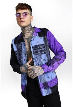 Purple Long Sleeve Bandana Print Shirt