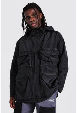 Black Multi Pocket Cagoule