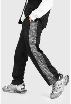 Black Official Man Embroidered Wide Leg Zip Joggers