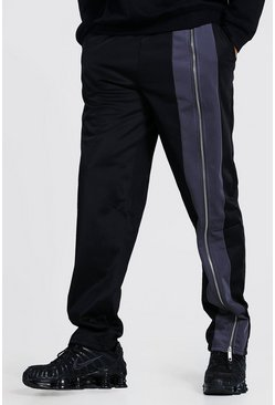 Black Official Wide Leg Jogger With Zip Detail