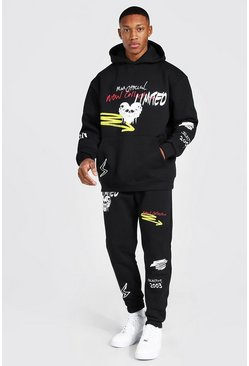 Black Oversized Skull Print Hooded Tracksuit