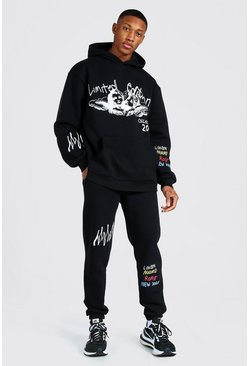 Black Oversized Cherub Print Hooded Tracksuit